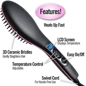 Simply Straight Ceramic Hair Straightening Brush Features